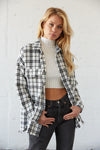 White flannel shirt jacket.