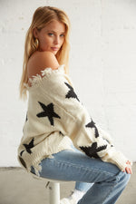 The side of this sweater shows of the slouchy silhouette and the distressed hem.