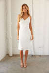 White cowl neck midi dress.