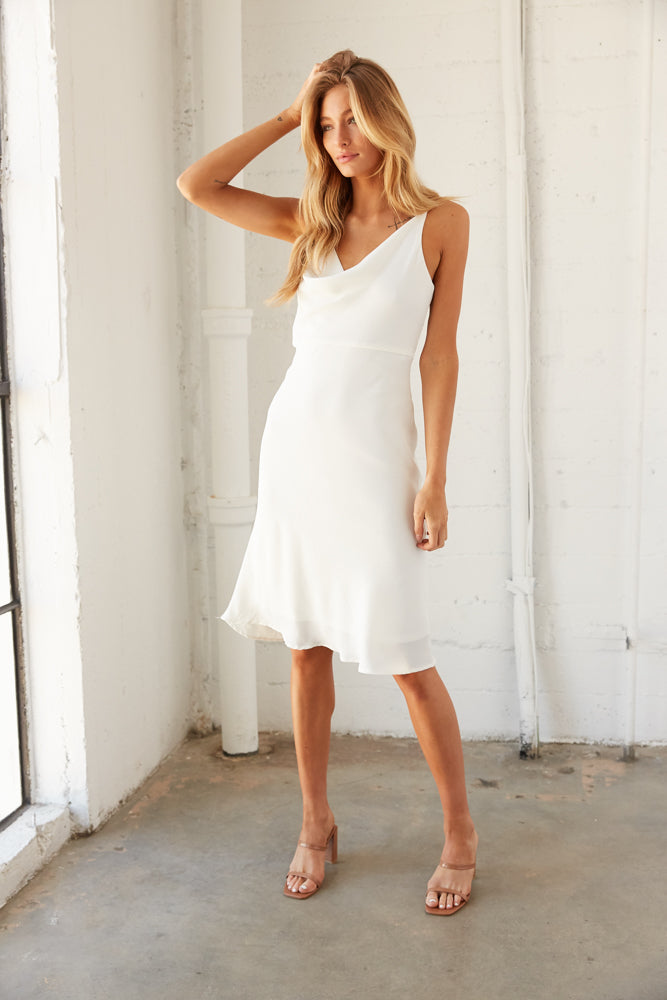 Cowl neck midi dress with relaxed silhouette.