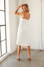 Back view of midi dress.