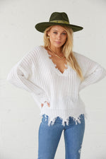 White slouchy knit sweater with long sleeves.