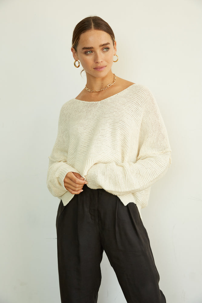 Knit Sweater in white.