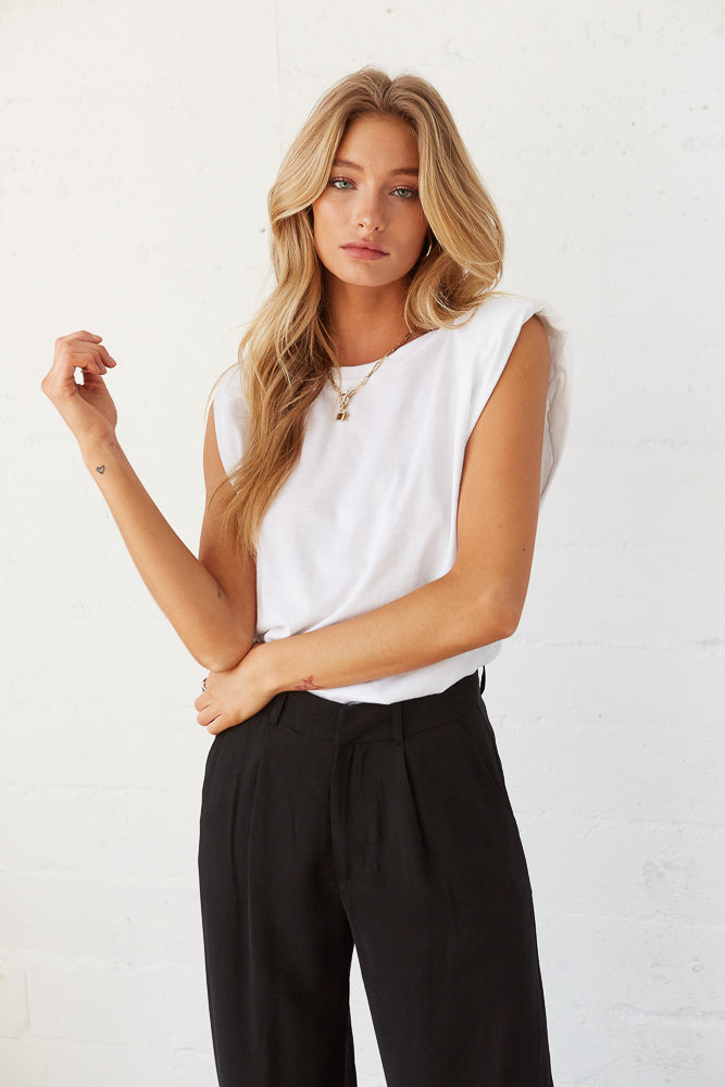 White relaxed fit muscle tee.