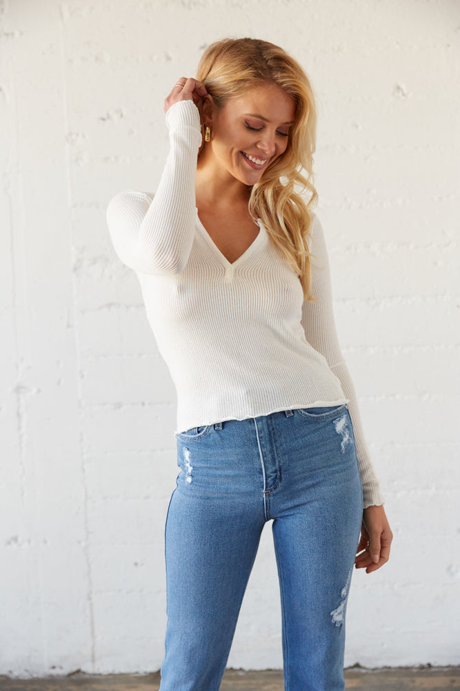 White notch front crop top.