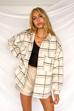 white plaid oversized shacket.