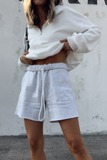 High waisted sweatshorts with drawstring tie.