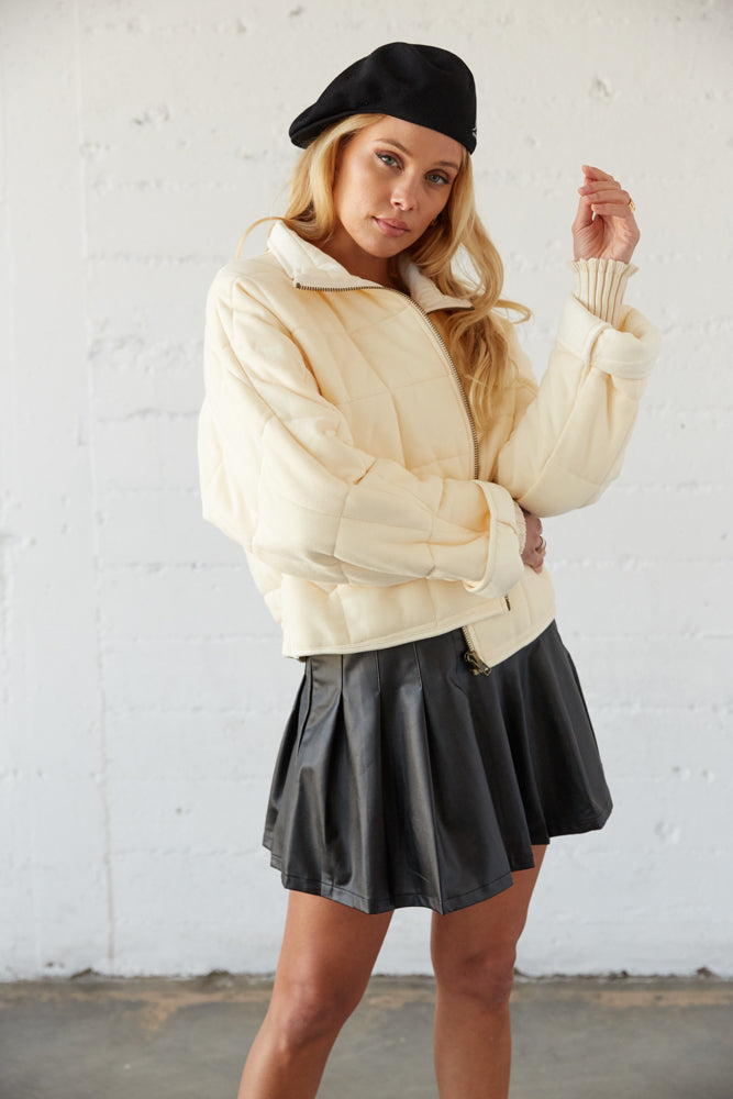 This jacket is boxy for a cute fit.