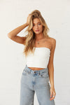 White ribbed knit tube top.