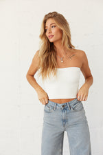 White crop tube top.