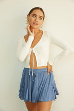 White ribbed crop top.