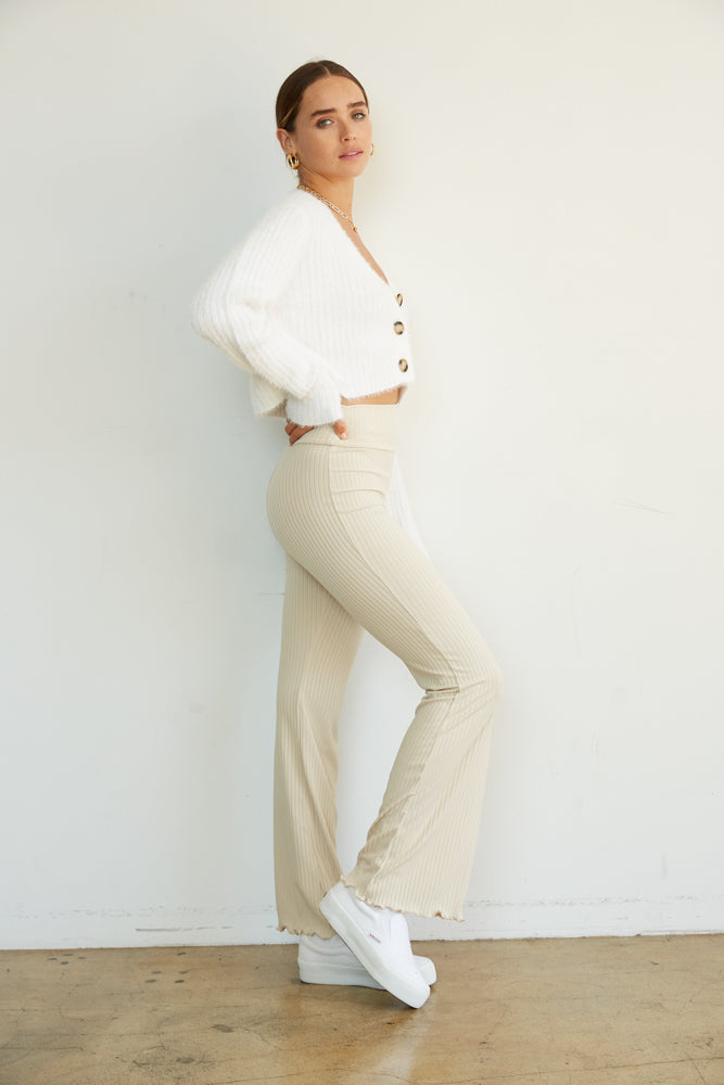 The ribbed flare pants.