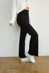 These high waisted flares are black and ribbed.