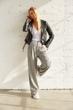 Grey plaid high rise pants.