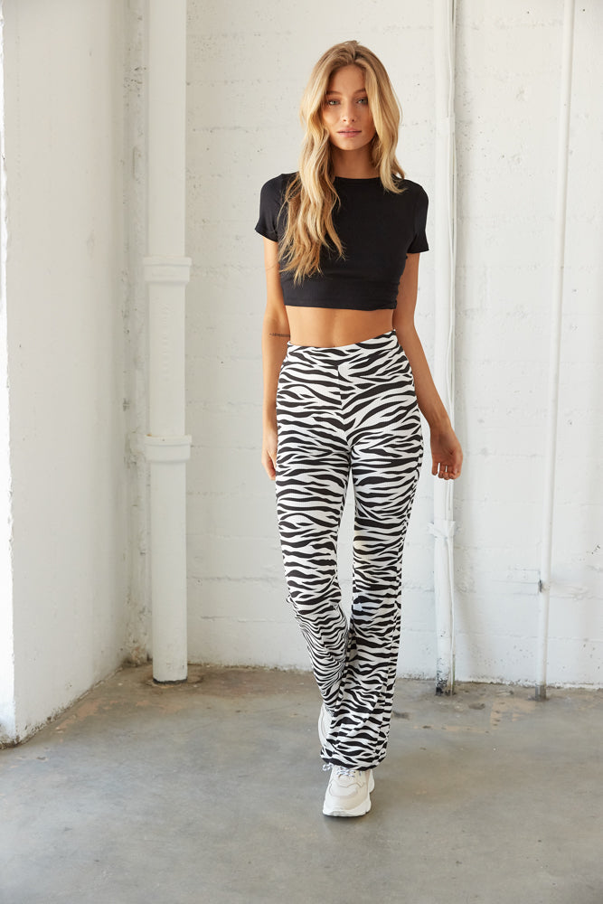 High rise flare leggings.