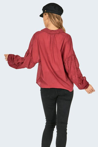 Amuse Society Everyday Love Woven Top In Crimson