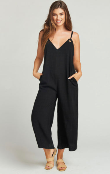 Mumu Jansen Jumpsuit in Black Linen