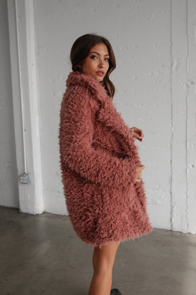 Midnight City Shag Jacket In Mauve