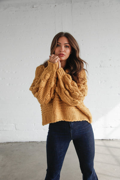 Moonbeam Chunky Knit Sweater In Mustard