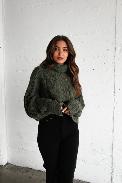 Stardust Chunky Knit Turtleneck Sweater In Olive