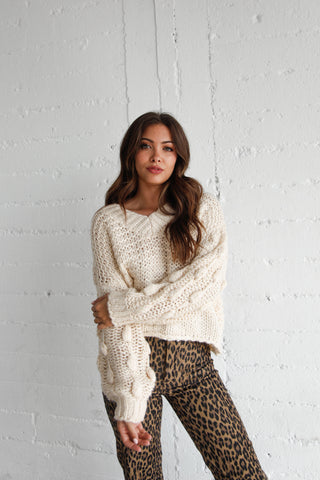 Moonbeam Chunky Knit Sweater In White