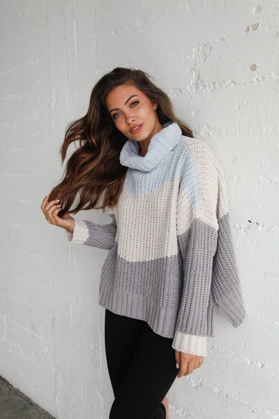 Let It Snow Striped Turtleneck Sweater
