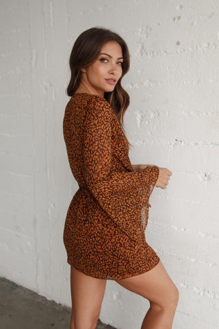 Jana Leopard Deep V Dress