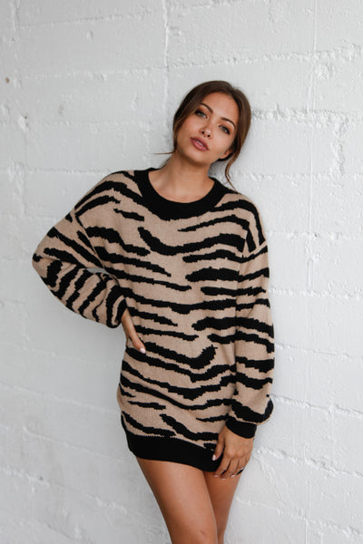 Native Daughters Paige Zebra Oversized Sweater