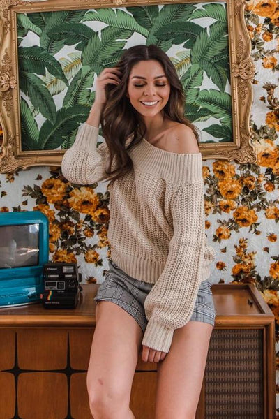 Be Happy Off Shoulder Sweater