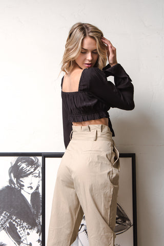 Bella Belted Paperbag Pants