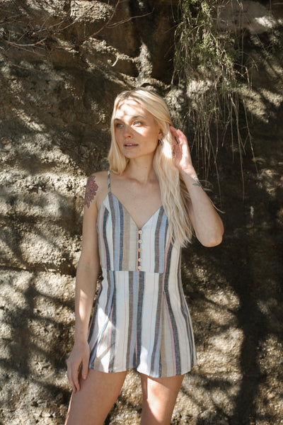Love Maze Striped Romper