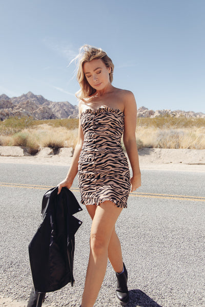Native Daughters Carrie Strapless Zebra Dress