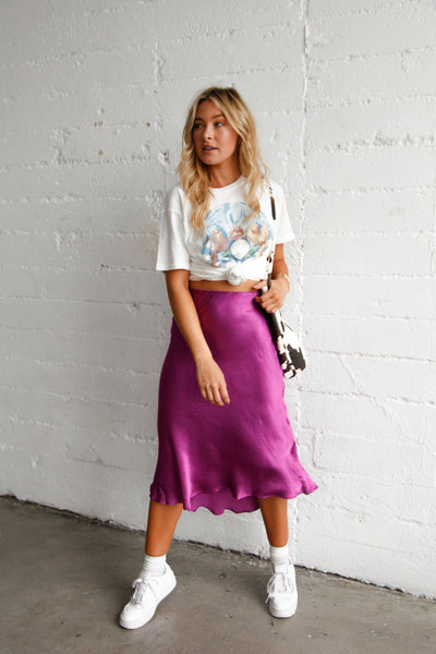 Under Your Spell Silk Midi Skirt