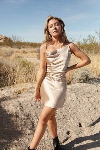 Native Daughters Ayla Asymmetrical Satin  Dress