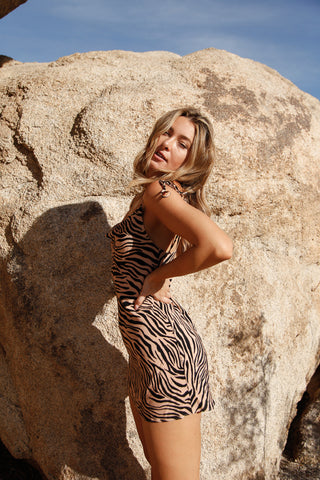 Sahara Zebra Cowl Neck Dress