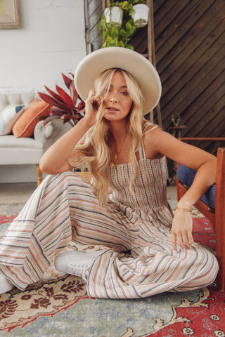 All A Dream Striped Linen Jumpsuit