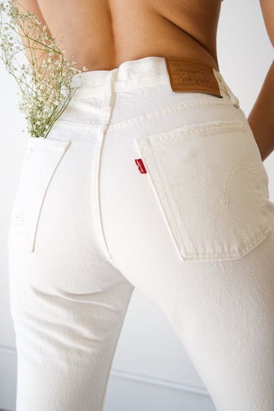 Levi's Wedgie Fit Distressed Jeans In White
