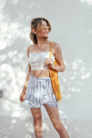 Mykonos Striped Wrap Skort