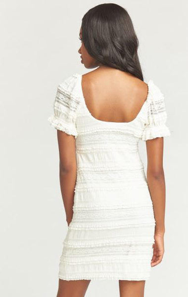 Mumu Honey Mini Dress In Vintage Ruffle Lace Cream