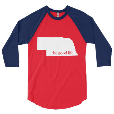 Nebraska The Good Life Baseball 3/4 Tee