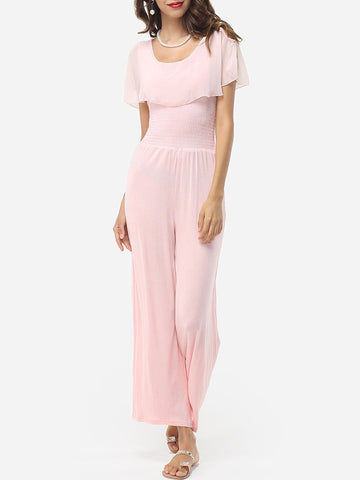 Courtly Round Neck Jumpsuits