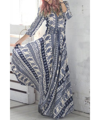 Neck 3/4 Sleeve Printed Maxi Dress