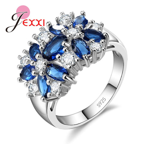 925 Sterling Silver Blue Green Zircon Ring Sets