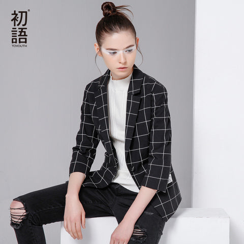 Women Pattern Suit Blazer