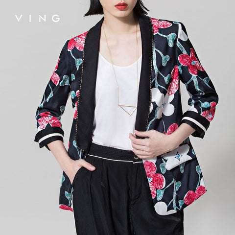 long Sleeve Blazers Flower Print