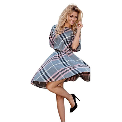 Half Sleeve Vintage Plaid Dress