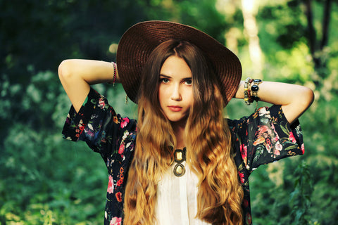 teen girl with bohemian style