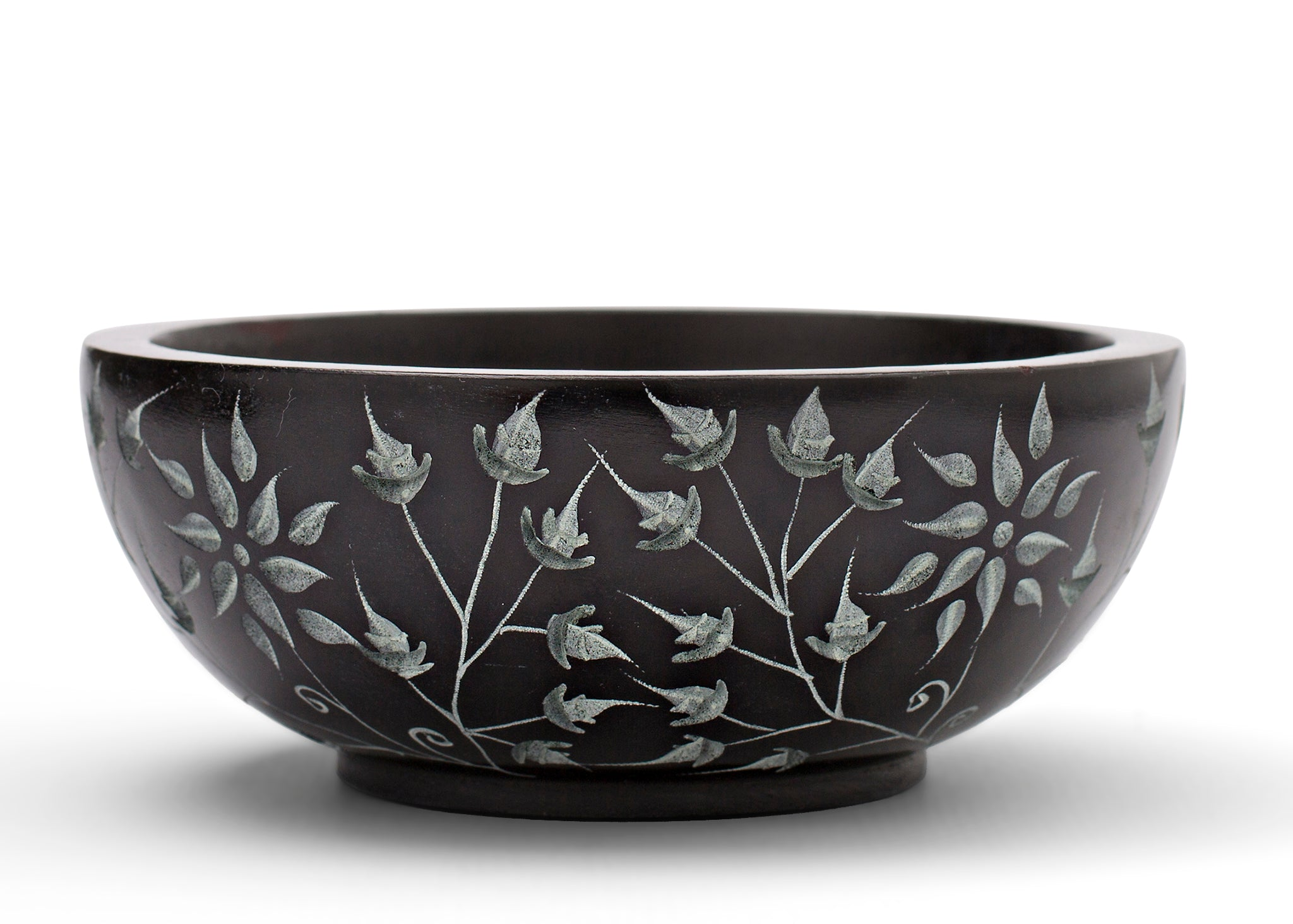 Floral Carved Smudging Bowl