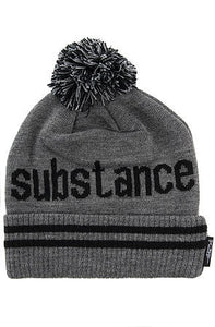 SUBSTANCE POM BEANIE - GREY - KONTROLLED SUBSTANCE