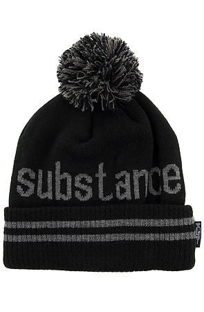SUBSTANCE POM BEANIE - BLACK - KONTROLLED SUBSTANCE